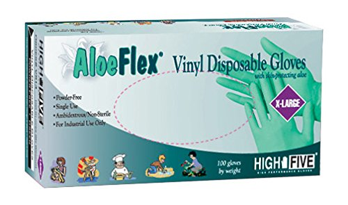 High Five Aloe Flex V514 Series V51 Vinyl Disposable Glove, X-Large (Case of 10) by High Five