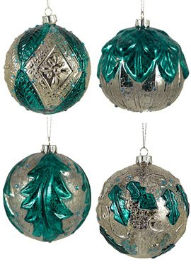 Christmas Tablescape Decor - Teal blue and silver mercury glass christmas ornaments - Set of 4