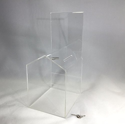 FixtureDisplays ACRYLIC''SMALL-HOUSE'' SHAPED DONATION BOX WITH A CAMLOCK 14706-FBA