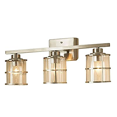 allen + roth 3-Light Kenross Brushed Nickel Bathroom Vanity Light - This top selling bathroom vanity light has been featured in multiple interior decorator magazines. Its solid materials and design gives a contemporary, original and classic look. This custom wall light model will make your bathrooms lighting stand out. Fits over most all standard vanity sinks High quality led lighting are included that can last up to 25 years. 3 light vanity bar with clear ribbed glass shades, and decorative nickel accents. Dimable with select household dimmers. Mount over your bathroom mirror for optimum illumination. - bathroom-lights, bathroom-fixtures-hardware, bathroom - 41%2BbPfQTa8L. SS400  -