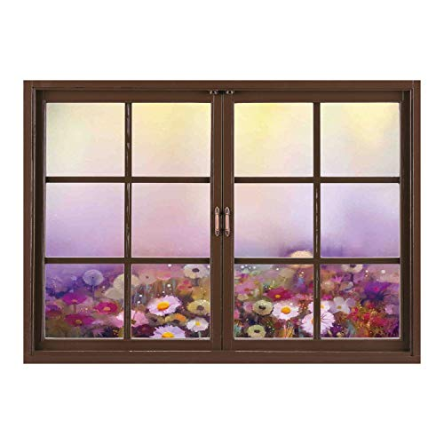 SCOCICI Creative Window View Home Decor/Wall Décor-Watercolor Flower Home Decor,Bed with Different Blossoms Types Fresh Romantic Garden Paint,Lilac Pink/Wall Sticker Mural