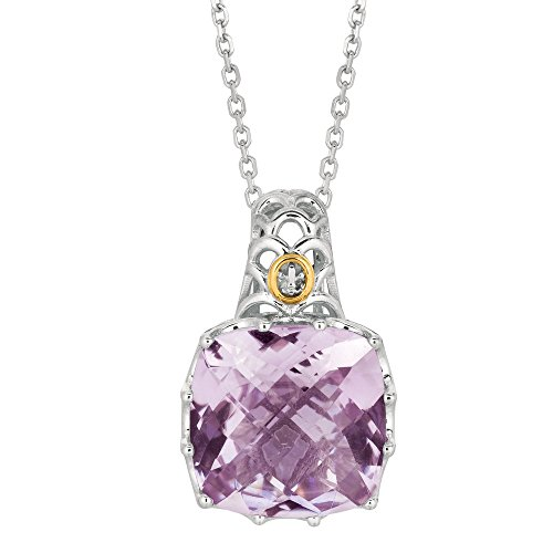 Argent Sterling poli Yg/or 18 carats-Diamant-Pendentif JewelryWeb