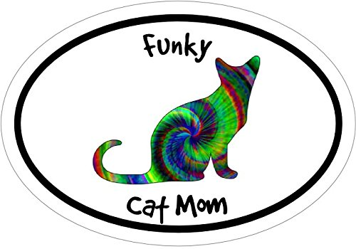 WickedGoodz Oval Tie Dye Funky Cat Mom Vinyl Decal Kitty Bumper Sticker Perfect Feline Mother Gift