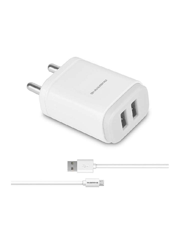 Ambrane awc 29 2.4 Dual Port A Fast Wall Charger for All Mobiles, Tablets and Devices with Micro USB Cable (White)