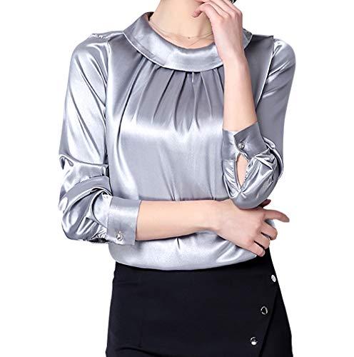 (Women's Silk Blouse Long Sleeve Stand Collar Casual Office Work Blouse Shirt Tops)