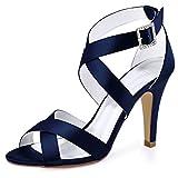 navy blue heels - ElegantPark HP1705 Women High Heel Shoes Open Toe Cross Strap Satin Wedding Dress Sandals Navy Blue US 8