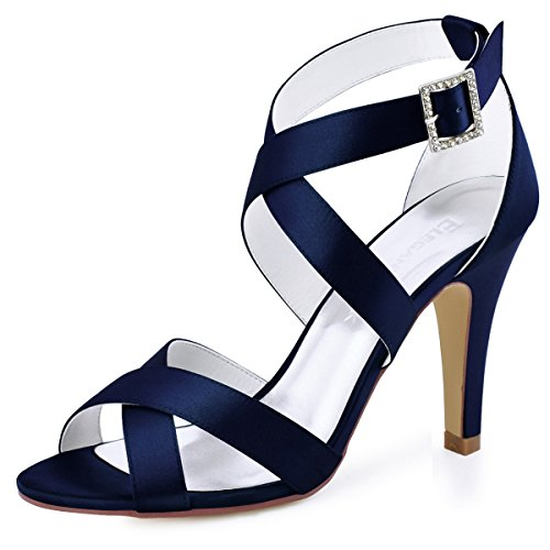 - ElegantPark HP1705 Women High Heel Shoes Open Toe Cross Strap Satin Wedding Dress Sandals Navy Blue US 9.5