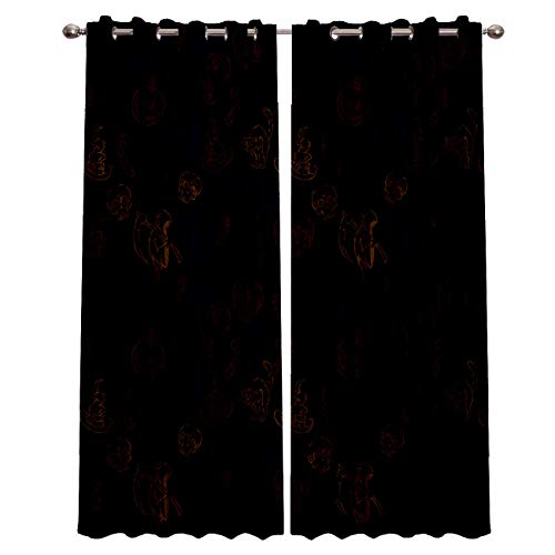 Blackout Grommet Curtains for Living Room Halloween Theme Zombie Ghost Cat and Pumpkin Home Decor Treatment Thermal Darkening Drapes Window Curtains for Bedroom (2 Panels, 52 x 63 Inch Each Panel)