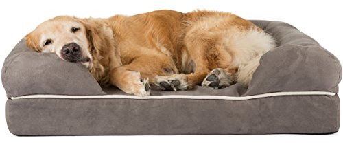 XL Large Dog Bed / Lounge with Bolster, 44 x 34 x 10 inches Fur resistant & anti-tear cover