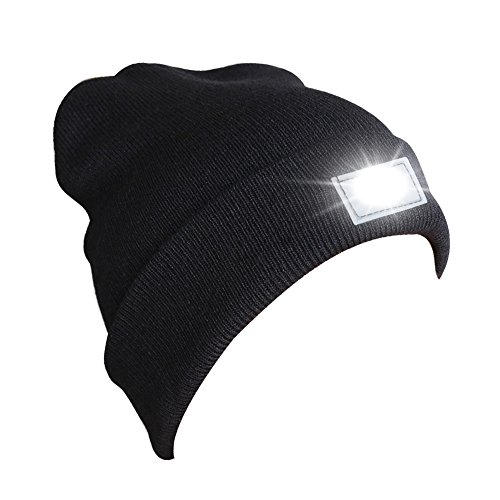 Led Lighted Dog Cap - Accmor Hands Free Ultra Bright 5 LED Knitted Flashlight Beanie Hat/Cap Power for Hunting, Camping, Grilling, Auto Repair, Jogging, Dog Walking, or Handyman Working for Christmas,Black,UL Certified.FBA
