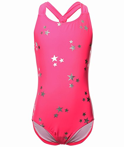 BELLOO Girls One Piece Swimsuits with Star Printing, Rose, -
