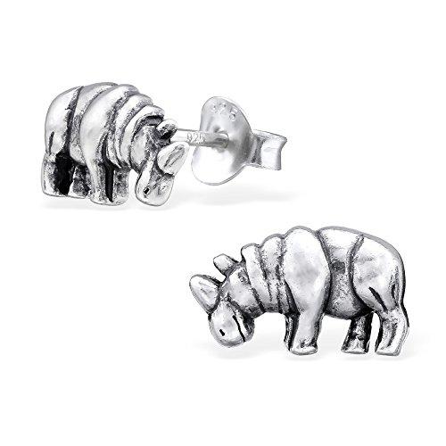 925 Sterling Silver Rhino Stud Earrings 26758 (Rhino Earrings)