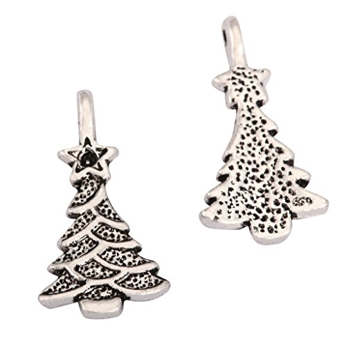 20 x Christmas Tree Charms Beads 15x11mm Antique Silver Tone for Charms Bracelet Necklace Jewelry Findings #mcz1102 (Tone Crystal Christmas Tree)