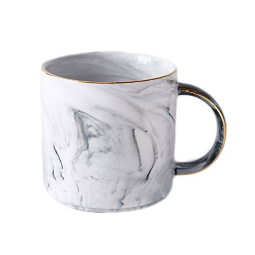 CHOOLD Ceramic Marble Coffee Mugs Tea Mugs Morning Mug Milk Mug for Couples Lovers Wedding Valentine Gifts 14oz (Gray Blue Pink)