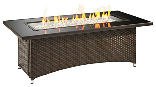Outdoor Great Room Montego Crystal Fire Pit Coffee Table with Balsam Wicker Base (Propane Fire Pit Wicker compare prices)