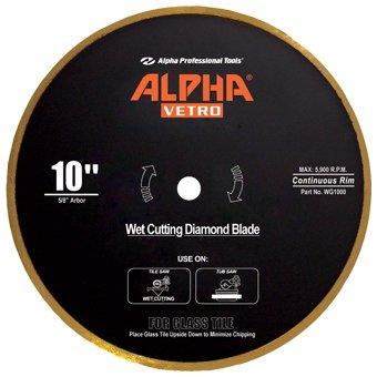 "10"" Alpha Vetro Glass Diamond Blade 5/8"" arbor"