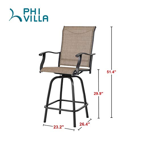 Admirable Phi Villa Swivel Bar Stools All Weather Patio Furniture 2 Pack Andrewgaddart Wooden Chair Designs For Living Room Andrewgaddartcom