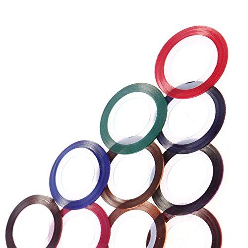 Anself 10pcs Metallic Rolls Striping Tape Line Nail Art Decoration Sticker Decals