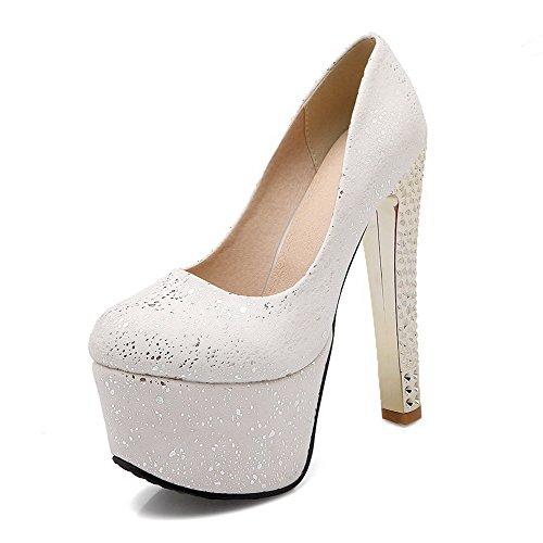 Chiusa calzature talloni Materiale Pompe Alto Rotonda Allhqfashion Molle Bianco Sulla Estraibili Solidi Punta Donne x0P7FqwPz