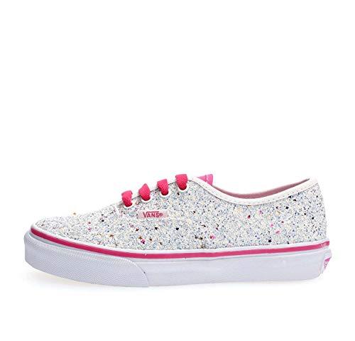 Vans Kids Girl's Authentic (Little Kid/Big Kid) (Glitter Stars) True White/Carmine Rose 4.5 M US Big Kid]()