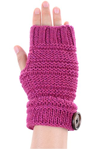 Button Fingerless Gloves - BYOS Women Winter Wool Blend Chic Knitted Fingerless Gloves Hand Warmer W/ Wooden Button Turnover Cuff (Fuchsia)