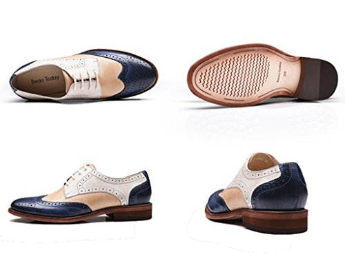 U-lite Women's Perforated Lace-up Wingtip Multicolor Leather Flat Oxfords Vintage Oxford Shoes Whiteblue shipping discount authentic clearance low price fee shipping tumblr sale cost with paypal online fwLtC