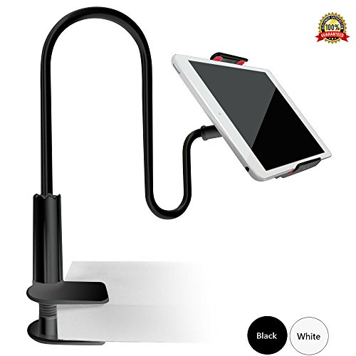 Price comparison product image Gooseneck Tablet Holder Clamp iPad Stand for Bed,  Kitchen,  Bedside,  Treadmill,  Mic Stand Rotatable 360 Degrees,  iPhone 7 / 7Plus,  iPad,  iPad air,  iPad mini,  Samsung,  Tablet 4-10.6inch,  Cellphone (Black)