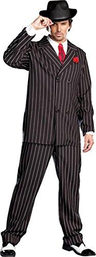 Dreamgirl Men's Gangsta Costume, Black/White, -
