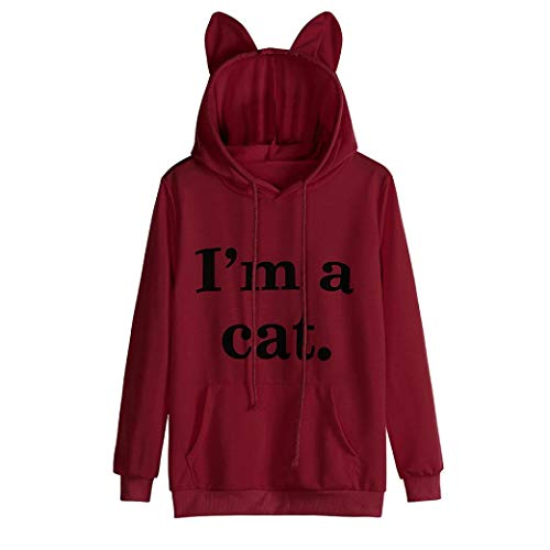 iDWZA Womens Casual Letter Print Cat Ear Hooded Sweatshirt Pullover Tops Blouse(XL,Red)