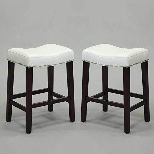 1perfectchoice-set-of-2-lewis-saddle-30h-counter-stool-chair-nailhead-trim-seat-white-pu-seat