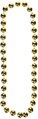 [Jumbo Party Beads (gold) Party Accessory  (1 count) (1/Card)] (Jumbo Mardi Gras Beads)