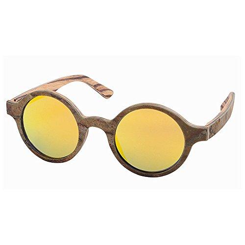 alta TAC de hombres la y retro estilo de de madera UV polarizadas lente calidad sol gafas los conducción piedra hecho de protección forma de sol Retro Marrón redonda mano de de gafas de Pequeño playa a pesca xISv7xB