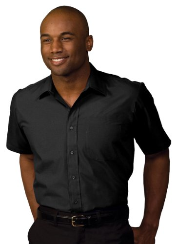 (Edwards Garment Men's Big And Tall Short Sleeve Broadcloth Shirt_BLACK_3XLT)