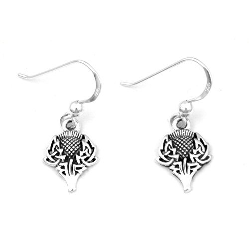 (Scottish Spirit of Alba Thistle Celtic Knot Art Sterling Silver Earrings by Courtney Davis )