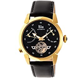 Reign Men's 'Canmore' Automatic Stainless Steel and Leather Watch, Color:Black (Model: REIRN1804)