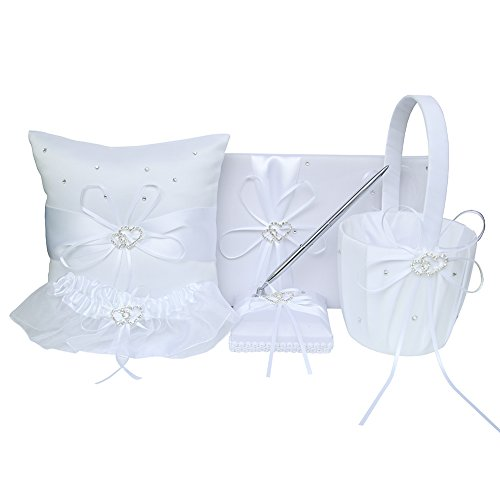 5pcs Wedding Sets Flower Girl Basket + Ring Bearer Pillow + Guest Book with Pen + Pen Set Holder + Bride Garter with 2 Rhinestone Hearts for Rustic Bridal Wedding - Heart Wedding Garters Rhinestone