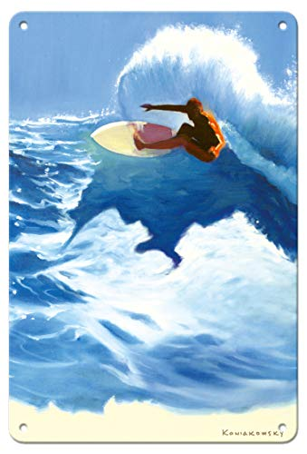 Pacifica Island Art 8in x 12in Vintage Tin Sign - Chunks - Surfer On Wave by Wade -