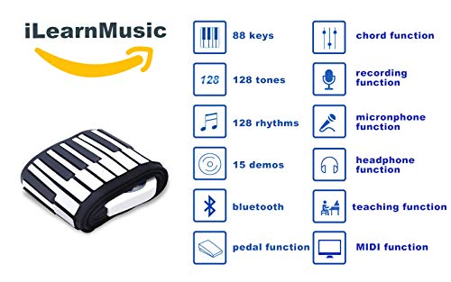 iLearnMusic Roll Up Piano, Premium Grade Silicone, Built-in Speakers - Educational Piano (88 Keys - (F88))