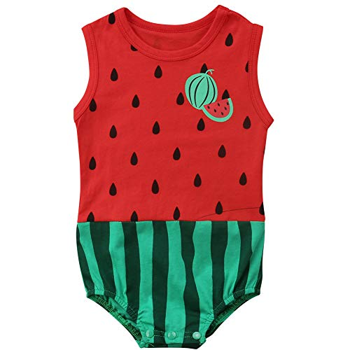 Infant Baby Boys Girls Sleeveless Watermelon Bodysuit Halloween Costume Cosplay Outfits (Red, 6-12 Months)