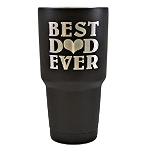 DAD GIFT – Engraved BEST DAD EVER Stainless Steel Polar Camel Tumbler 30 oz Vacuum Insulated Large Travel Coffee Mug Hot & Cold Drinks Fathers Day Gift Christmas Birthday (Black)