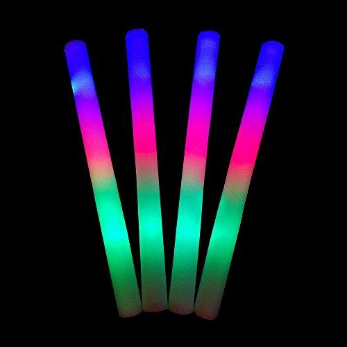 Lifbeier 30 PCS LED Glow Sticks - RGB Changing Flashing Light Up Foam Sticks Party Supplies for Birthday, Wedding, Sport Events