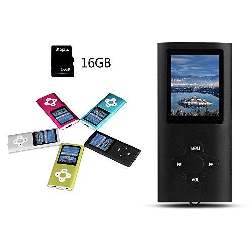 Btopllc Digital, kompakter und beweglicher MP3 / MP4 Spieler 16GB LCD Schirm MP3 MP4 Musik-Spieler mit Radio und Expandable MicroSD / SDHC Schlitz