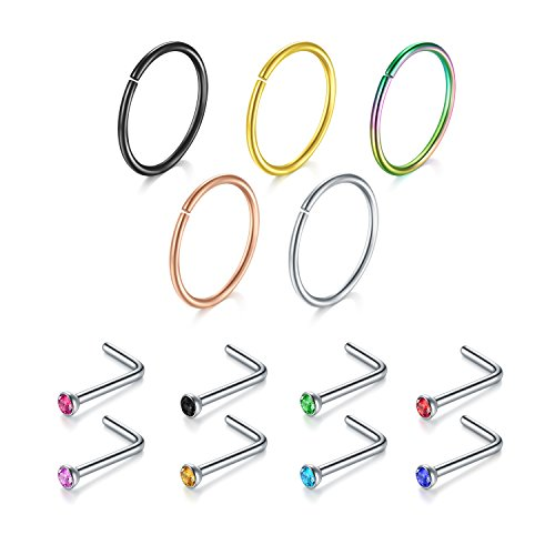 Nose Ring, 13PCS 316L Surgical Stainless Steel Incaton Body Jewelry Piercing Nose Hoop Ring and L Shaped Ring