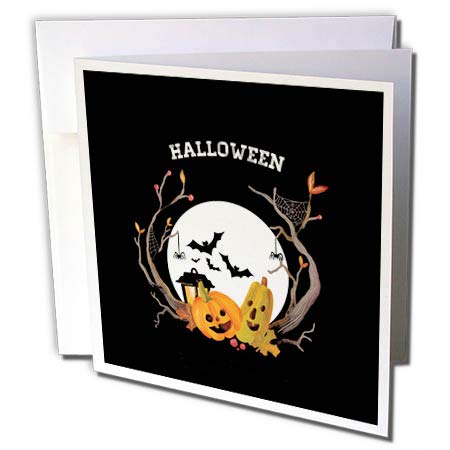 3dRose Beverly Turner Halloween Design - Spooky Trees, Pumpkin, Bats, Spider, Web, Moon, and Lantern, Halloween - 1 Greeting Card with Envelope (gc_302004_5)