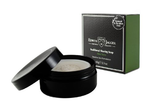 Edwin Jagger 99.9% Natural Traditional Shaving Soap In Travel Tub - Aloe Vera, 2.3-Ounce