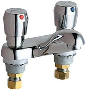 Chicago Faucets 802-665CP 4-Inch Centerset Lavatory Metering Faucet, Chrome