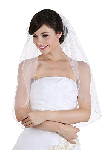 1T 1 Tier Beaded Edge Bridal Wedding Veil - Ivory Elbow Length 30