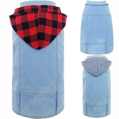 Mihachi Dog Jean Jacket - Pet Clothes Shirt Blue Vest Coat Dog Hoodie with Two Replaceable Hats,L