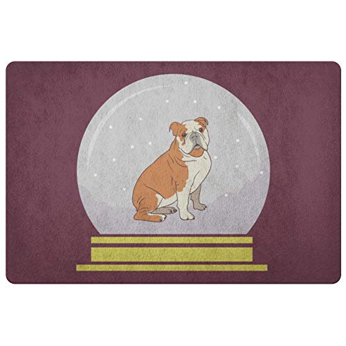 Weezag Snow Globe Bulldog Door Mat, Funny Gifts for Dog Lovers