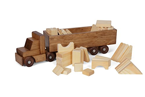 Amish-Made Large Wooden Toy Semi Truck Set with 30 Building Blocks